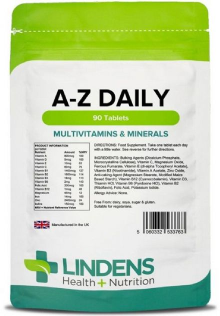 Multivitamin A-Z Daily x 90/360 Tablets; Multivits & Minerals; Lindens